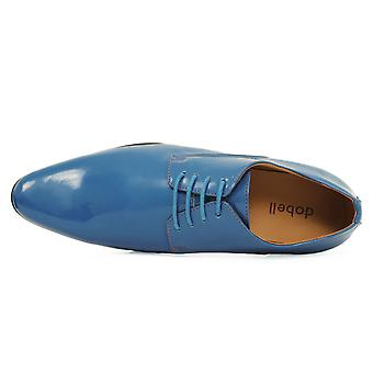 Dobell Mens Blue Dress Shoes Patent Contemporary Style Laced