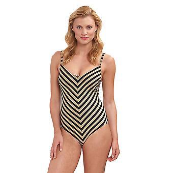 Feraud 3195056-16355 Women's Voyage Golden Ringlet Striped Costume One Piece Swimsuit
