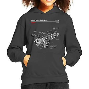 NASA-Shuttle Struktur Blueprint Kid Sweatshirt mit Kapuze