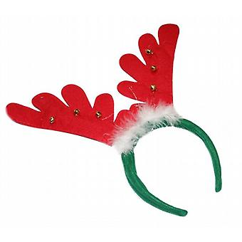 Felt Dressing Up Christmas Reindeer Antlers Jingle Bells White Fur Pack of 50 (5635)