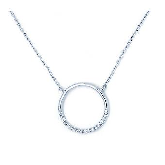 Ah! Jewellery Sterling Silver Clear Crystals From Swarovski Pave Set Hoop Necklace