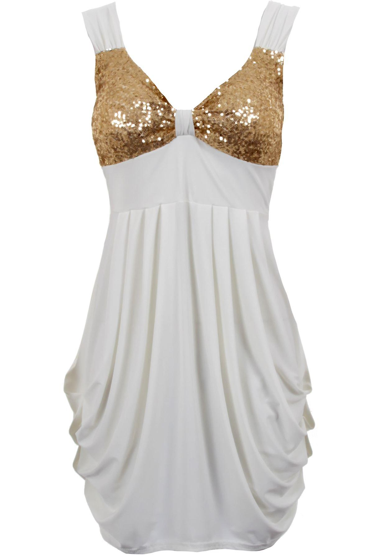Ladies Silver Gold Sequin Padded Bra Cup Gathered Short Womens Dress