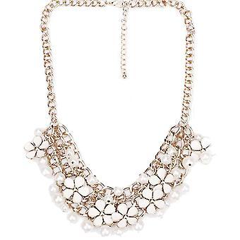 Ladies farverig blomst perle stil juvel erklæring Swarovski krystal halskæde