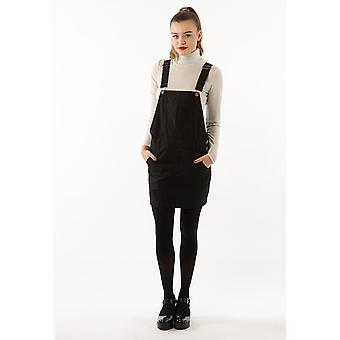 Womens oversized black denim dungaree dress
