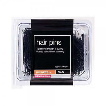 Salon Services Fine Waved Pin - Schwarz - Packung mit 1000