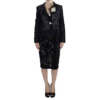 Bencivenga Black Floral Sheath Dress & Blazer Set -- SIG3626373