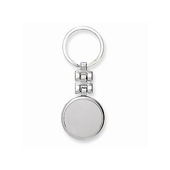 Nickel-plated Satin and Polished Circle Key Ring - Engravable Gift Item