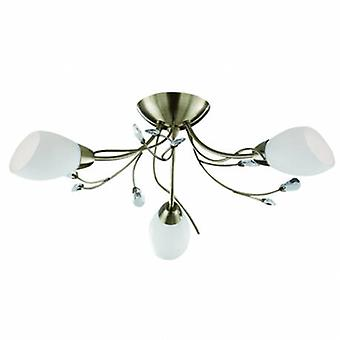 3 Light Semi Flush Multi Arm Ceiling Light Antique Brass, Crystal And Opal Glass