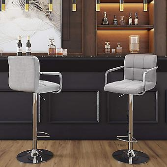 Set of 2 luxury linen bar chairs-Adjustable in height