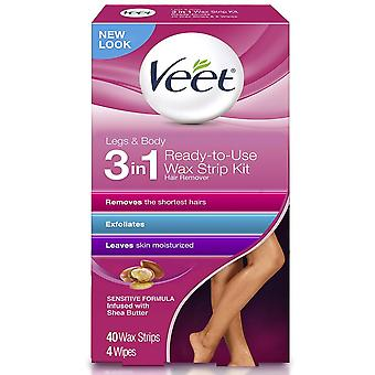 Veet ready to use hair removal wax strips, legs & body, 40 ea