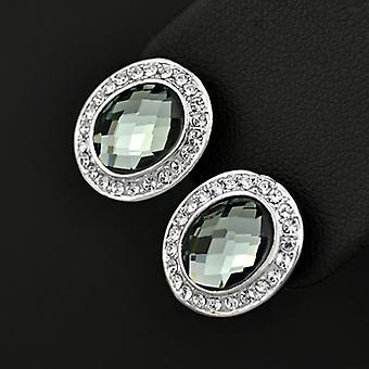 18K Gold Plated Grey Lever Back Stellux Austrian Crystals Earrings, 1.6cm