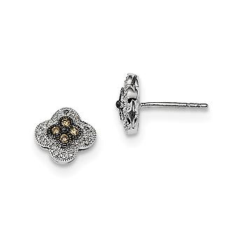 925 Sterling Silver Gift Boxed Cut-out sides Rhodium-plated Champagne Diamond Small Flower Post Earrings
