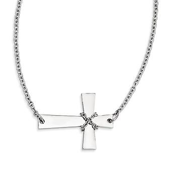Stainless Steel Polished Fancy Lobster Closure Sideways Cross With Chain Necklace - 21 Inch