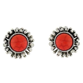 Clip On Earrings Store Silver & Orange Round Stone Button Clip on Earrings