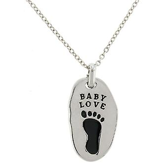 Verzilverd Misshaped BABY LOVE voetafdruk hanger ketting