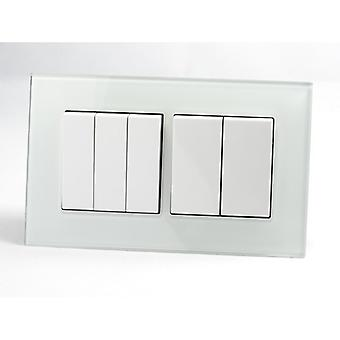 I LumoS AS Luxury White Crystal Glass Double Frame 5 Gang 1 Way Rocker Light Switches