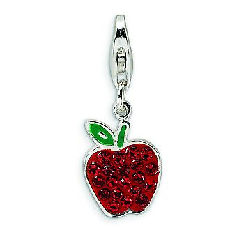 Sterling Silver Enamel Red Crystal Apple With Lobster Clasp Charm - Measures 23x9mm