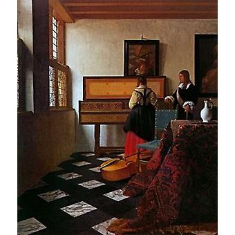 Lady At The Virginals With A Gentleman Poster Print by  Johannes Vermeer