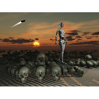 An android walks amongst a pile of skulls on the planet Earth Poster Print