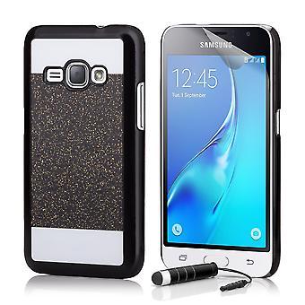 Glitzer Case + Stift für Samsung Galaxy J1 (2015) - schwarz