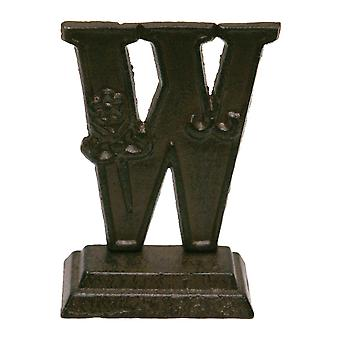 Iron Ornate Standing Monogram Letter W Tabletop Figurine 5 Inches