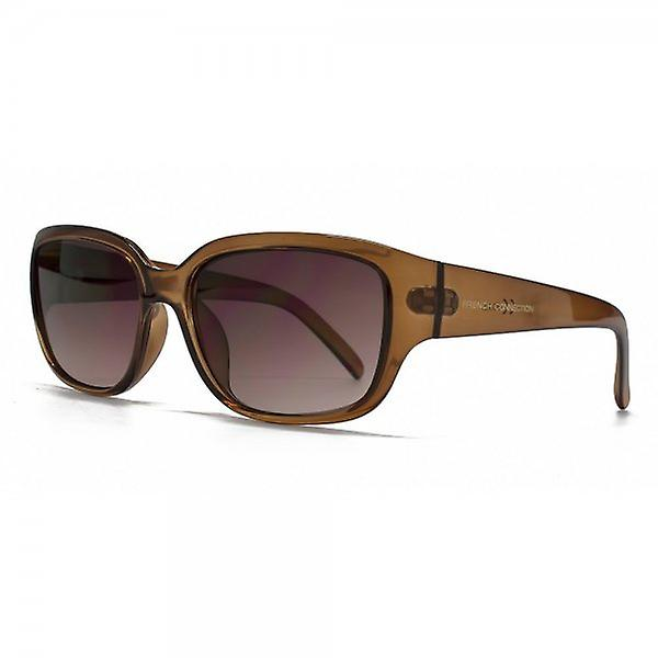 French Connection Classic Rectangle Sunglasses In Crystal Brown