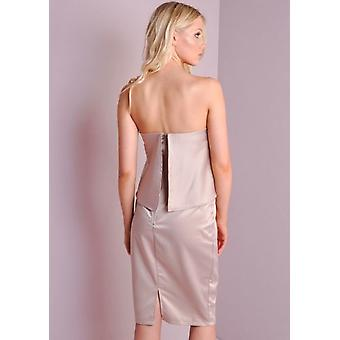 Silk Double Layer Bandeau Split Back Dress Champagne