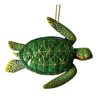 Tropical Reef Green Sea Turtle Tiki Christmas Ornament Turtle06