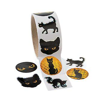 Roll of 100 Black Cat Halloween Stickers for Kids Crafts | Kids Halloween Crafts