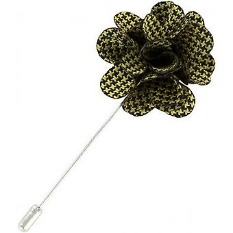 Michelsons of London Puppy Tooth Flower Lapel Pin - Yellow/Black
