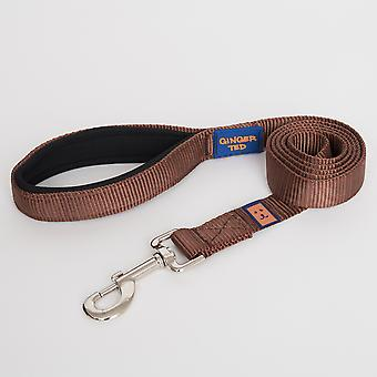 Ginger Ted Nylon Padded Dog Lead Brown (2 sizes)