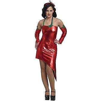Kostüme Frauen rote Paprika Kleid Damen