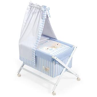 Interbaby Nogal minicuna canopied Model Love Blue