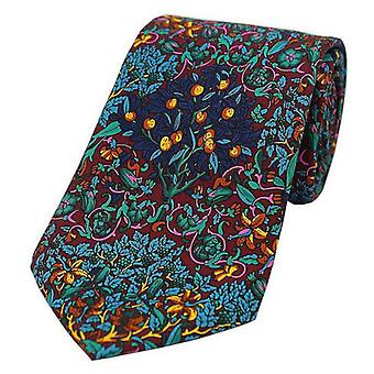Posh and Dandy Flowers Tree and Leaves Silk Tie - Navy/Red/Green