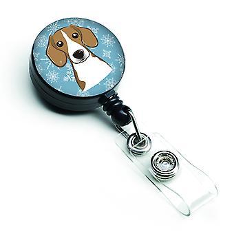 Carolines schatten BB1673BR Snowflake Beagle intrekbare Badge Reel