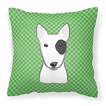 Green Checkered Bull Terrier   Canvas Fabric Decorative Pillow