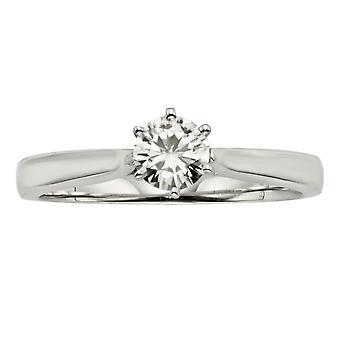 Forever Classic Round 5.0mm Moissanite Engagement Ring, 0.50ct DEW