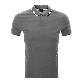 Hugo Boss Black Phillipson 13 Regular Fit Stripe Collar Grey Polo