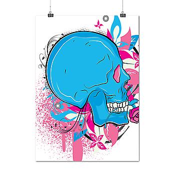 Matte or Glossy Poster with Rose Colorful Head Skull | Wellcoda | *d1150