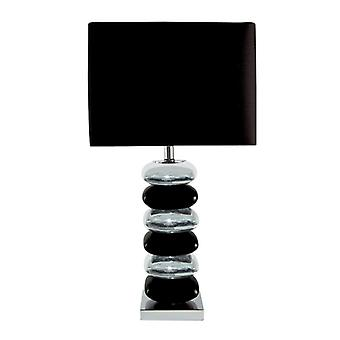 Black & Chrome Stack Table Lamp With Black Shade - Searchlight 4318cc-1