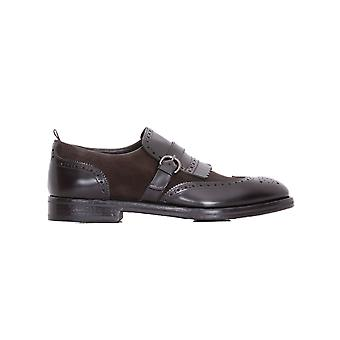 Rossi mens 6466M brown leather monk shoes