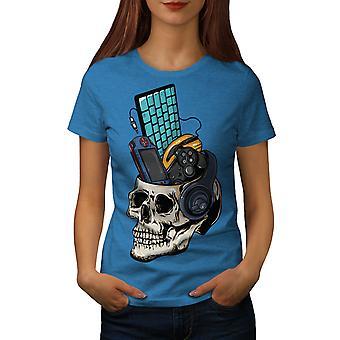 Skull Gaming PC Geek Women Royal BlueT-shirt | Wellcoda