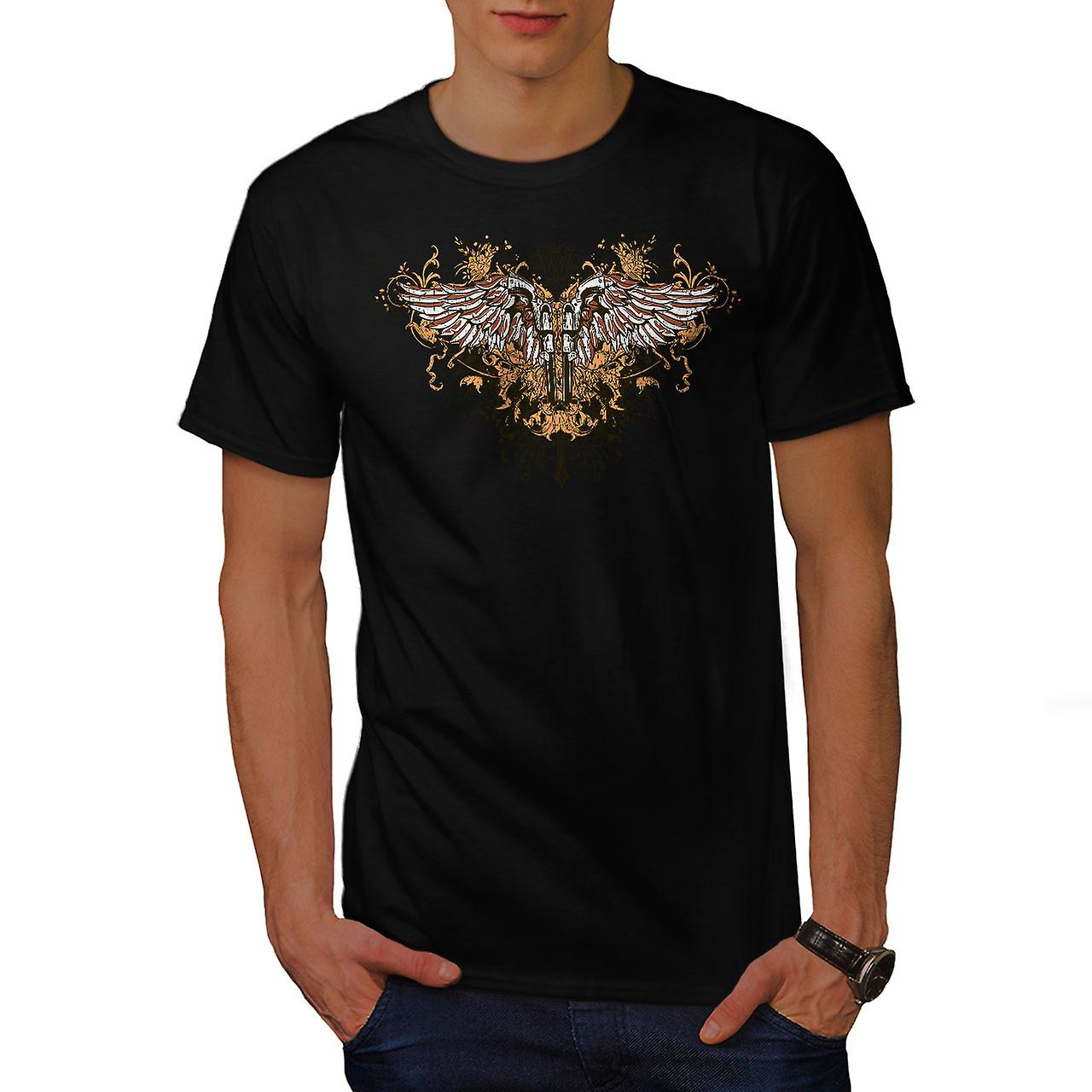 Pistol Gun Angel Wing Men Black T-shirt | Wellcoda