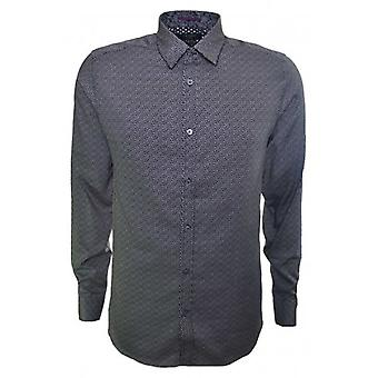 Ted Baker Mens Scatter Navy Blue Leaf Print Long Sleeve Shirt