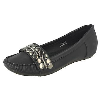 Ladies Spot On Flat Moccasin Shoes with Metal Saddle Trim
