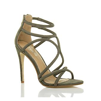 Ajvani mujeres tacón tiras cruce apenas hay zip sandalias zapatos de tacón de fiesta