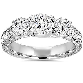 1 3 / 4ct tres piedra Vintage redondo anillo solitarios 14K oro blanco