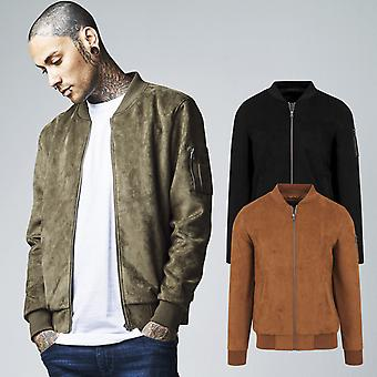 Urban classics - faux suede bomber pilot fly jacket