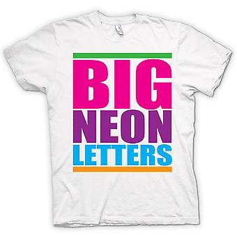 Mens T-shirt - Big Neon Letters - Funny