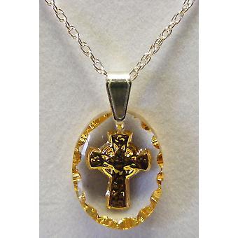 Pendentif en cristal ovale croix celtique - peint à la main or